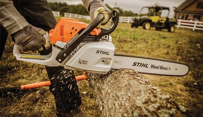 Man using a STIHL chainsaw on the tree